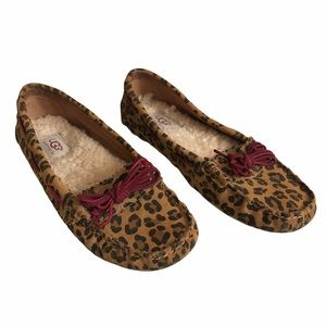 UGG Brown Red Leopard Driving Loafer Slippers 7